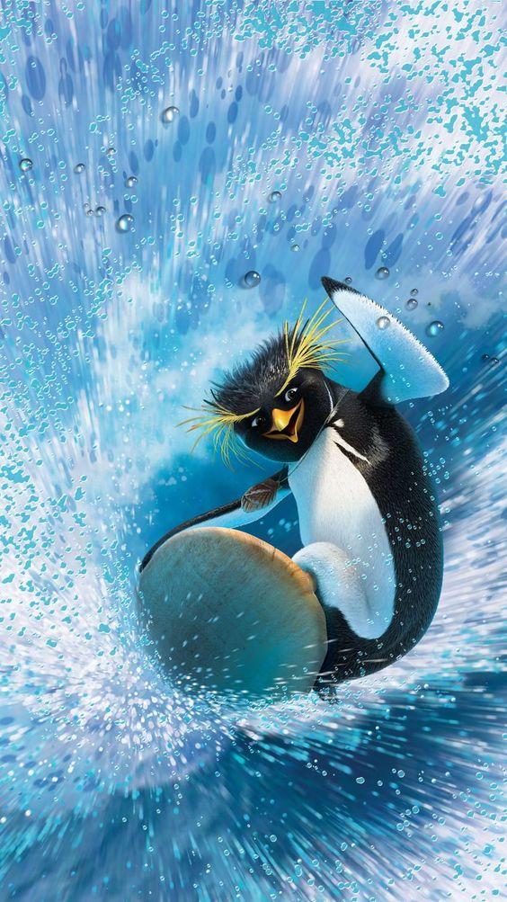 Wallpapers desenhos animados: pinguim no surf