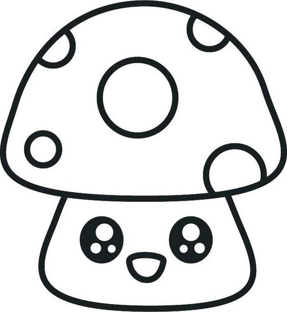 Cogumelo kawaii para colorir
