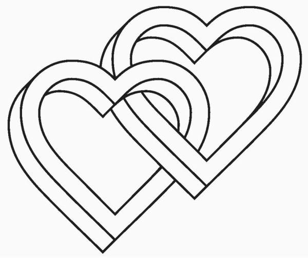 Desenhos de coração para colorir dois