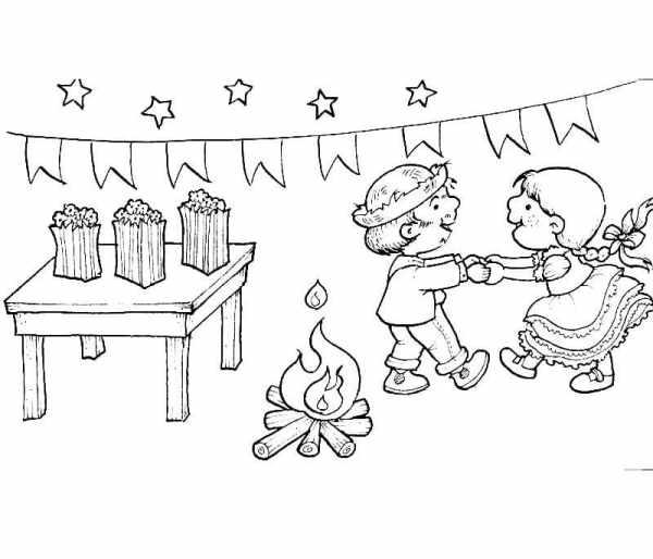 Desenhos de festa junina para colorir danças