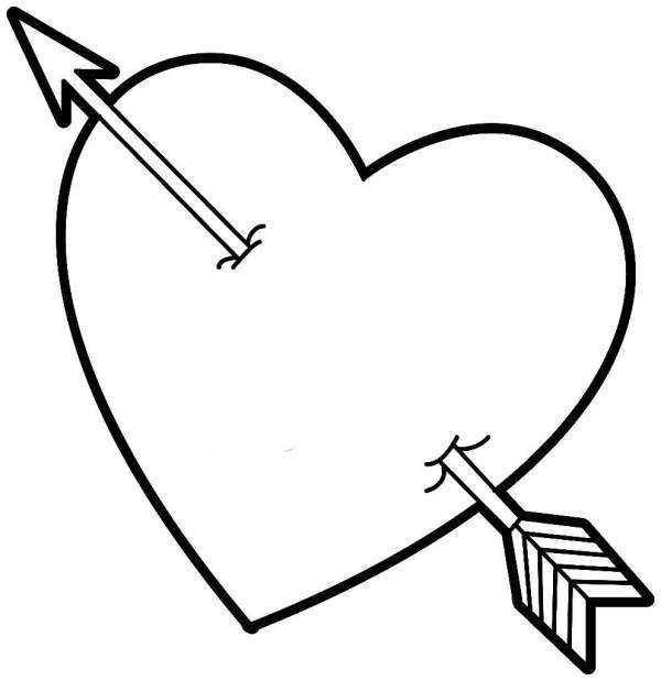 Desenhos de coração para colorir com flexa