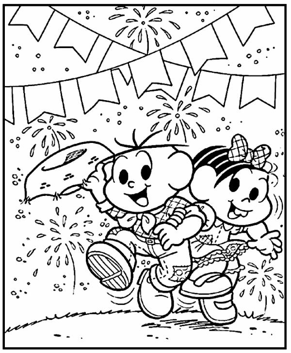 Desenhos de festa junina para colorir feliz