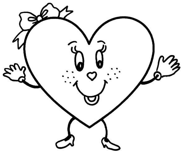 Desenhos de coração para colorir feliz