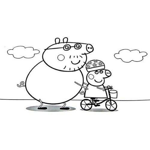 peppa pig para colorir andando de bicicleta