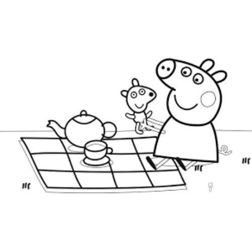 peppa pig para colorir brincando com ted
