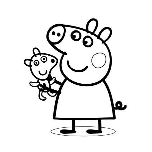peppa pig para colorir com seu amigo ted