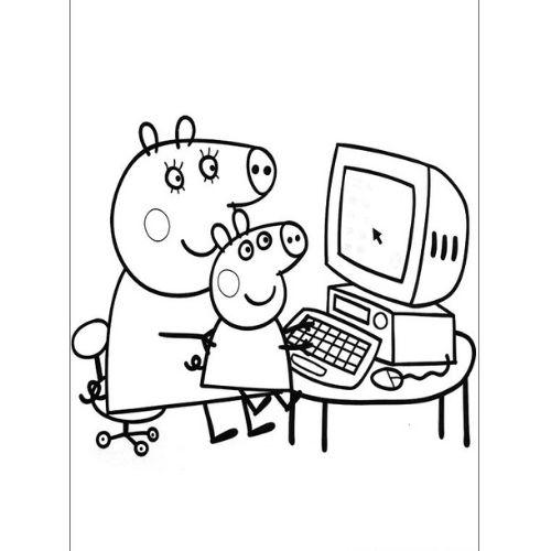 peppa pig para colorir estudando