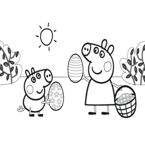 peppa pig para colorir caça aos ovos de páscoa