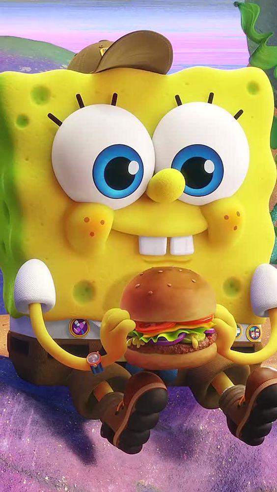 Bob esponja com hambúrguer
