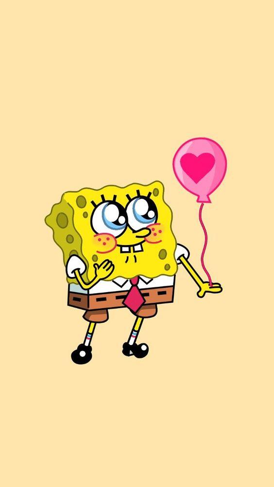 Bob esponja fofo com balão