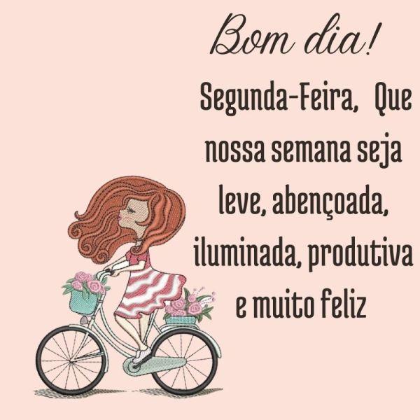 bicicleta, menina e flores de bom dia segunda feira com Deus
