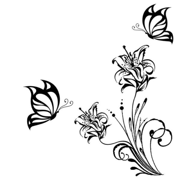 Lindas flores e borboletas para colorir