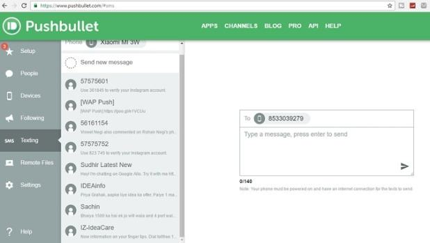 pushbullet - Android Apps to Send SMS from Computer
