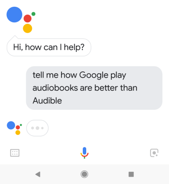 """OK Google, tell me how Google Play Audiobooks is better than Amazon's Audible?"""