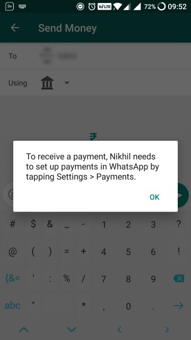 whatsapp upi error