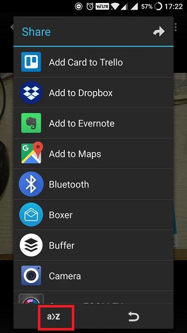 appchoser share menu UI