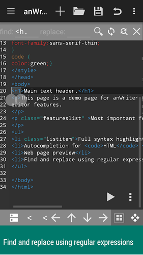 code editors for android - anWriter