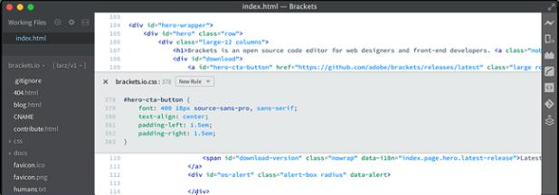 open html editor - brackets