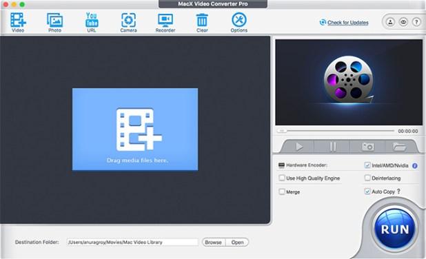 MacX Video Converter Pro Home Screen