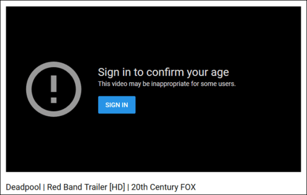 youtube age restriction message