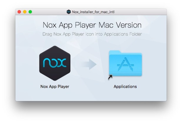 Drag the Nox App Player icon into the Applications folder.