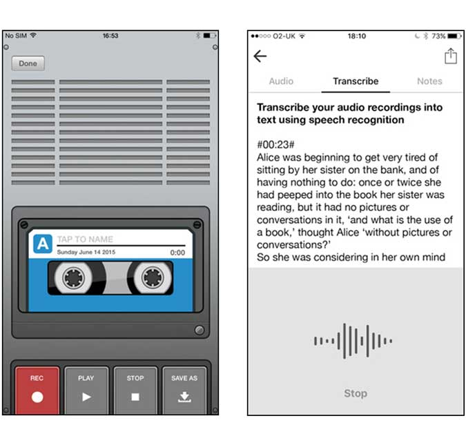 VRAR app that can also transcribe