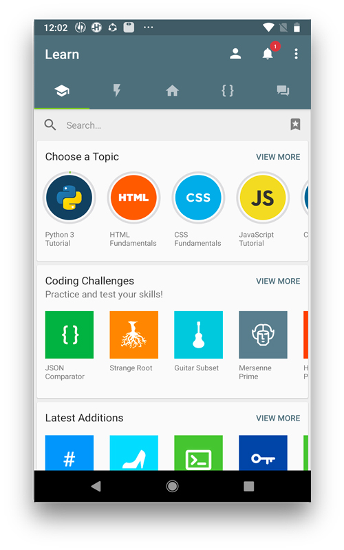 coding apps for kids- SoloLearn Main layout screen