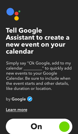 IFTTT Applets for Google Home- event to calendar