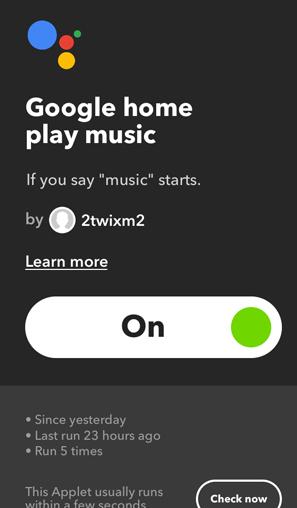 IFTTT Applets for Google Home- music