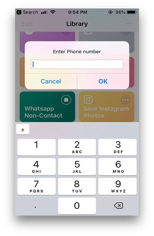 Whatsapp Non Contact- Useful shortcuts for apple's shortcut app