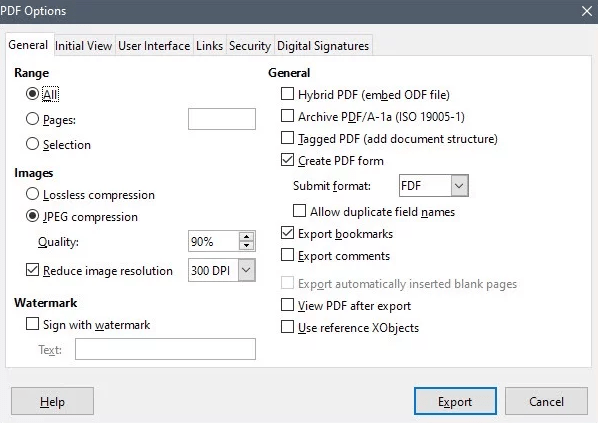 pdf export option in libre draw