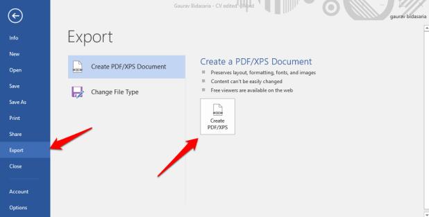 export word as pdf