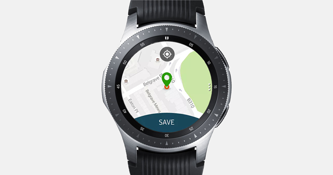 Screenshot of the Galaxy Watch with Map My Run app showing the starting position and a Save Button.