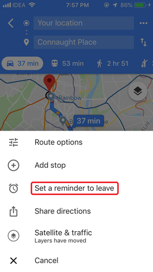 Google maps traffic reminder iPhone