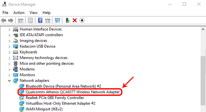 network adapter in device manager