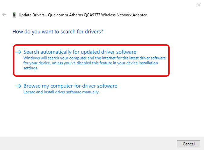 search automatically for wifi drivers