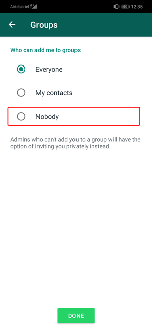 Stop People from Adding You to WhatsApp Groups- nobody