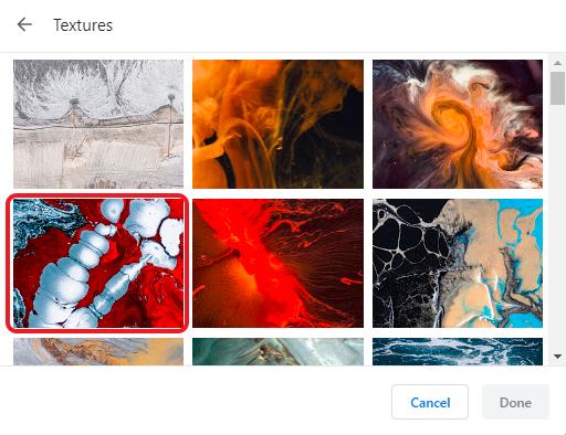 custom background on Google Chrome- select