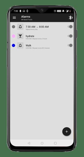 set up alarms, hydration reminder, walk reminder on mi tools app