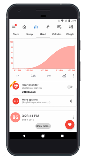 continuous heart rate detection and heart rate chart on the mi band notify and fitness app