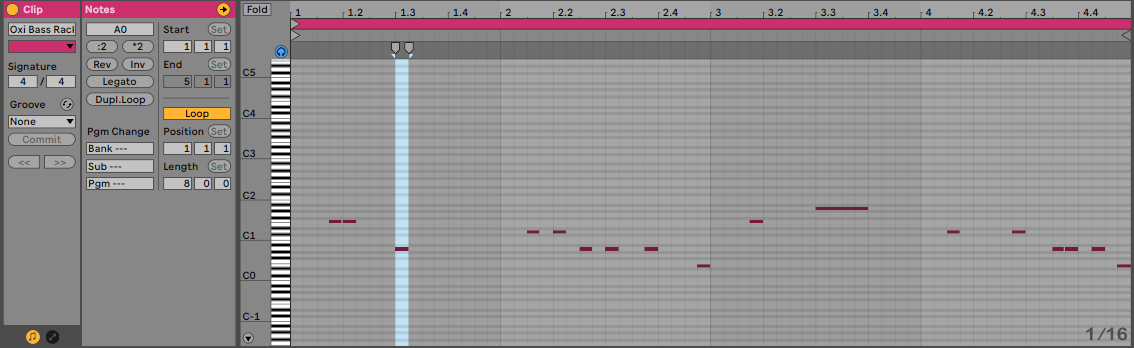 Ableton Piano roll