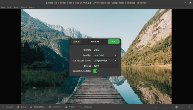 using shotwell photo viewer to compress image size