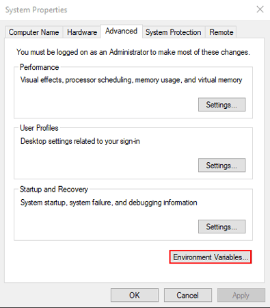 add environment variables in windows