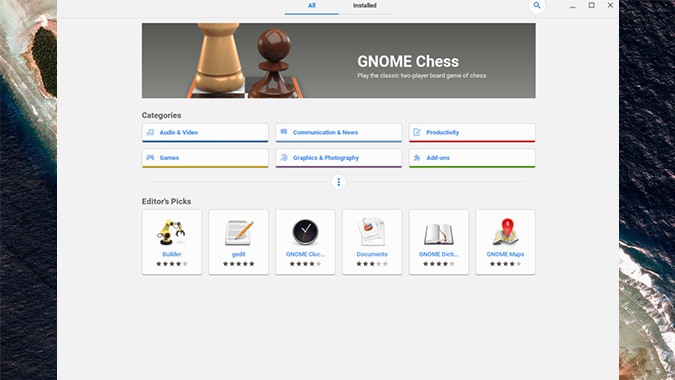 Gnome Software Center on Chromebook