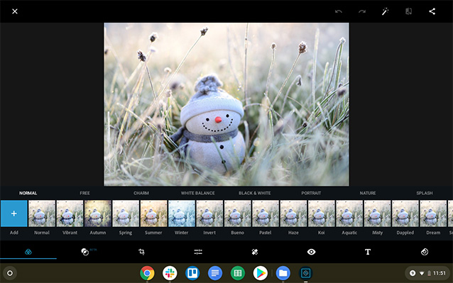 screenshot of cute snowman in photo editor