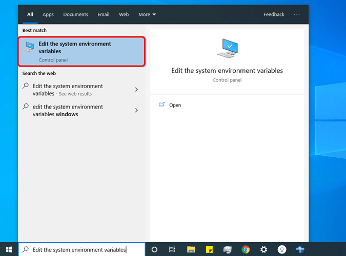 search edit the environment variable on the start menu