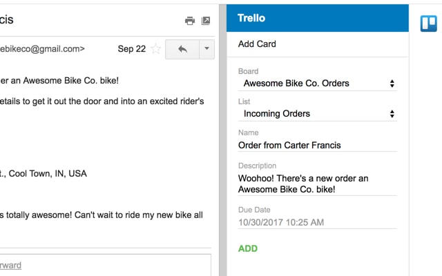 creating a card from gmail in trello