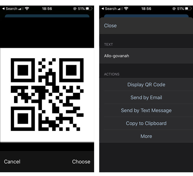 QR code will generate the information