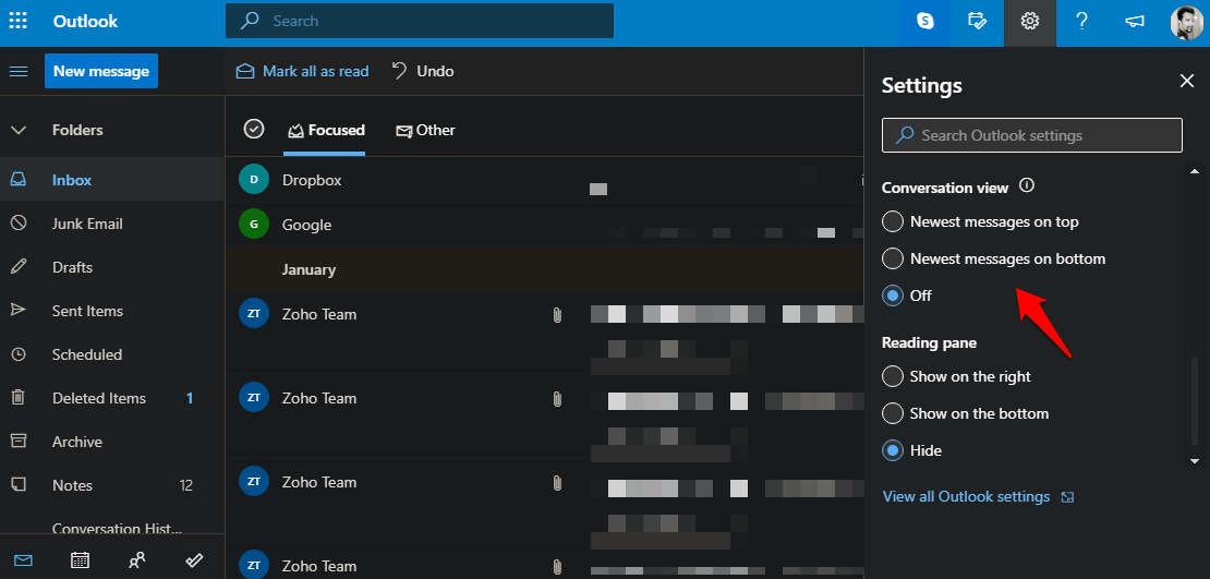 conversation view setting in outlook