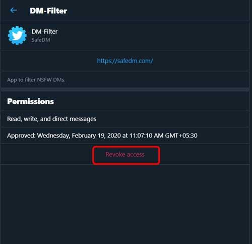 revoke access of the DM-Filter - Filter your Twitter DMs